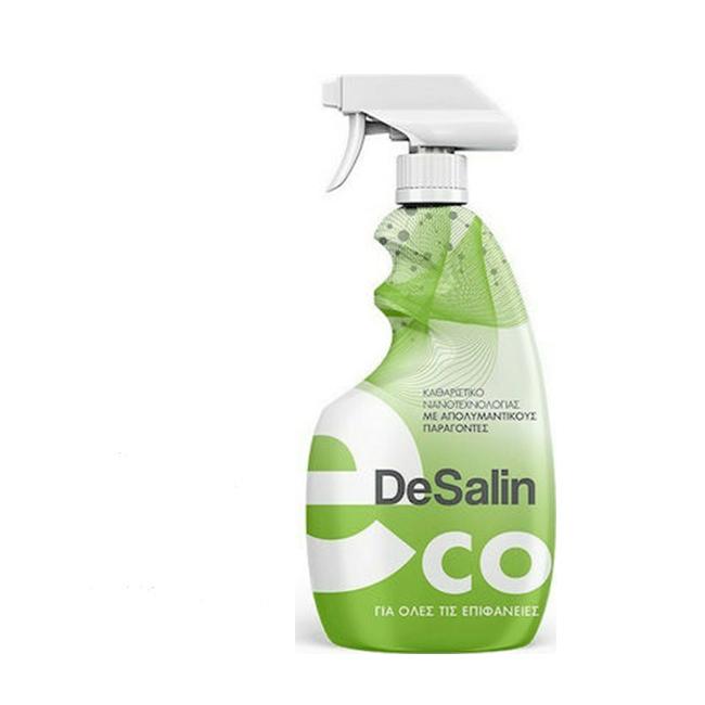 DeSalin Eco – Καθαριστικό νανοτεχνολογίας με απολυμαντικούς παράγοντες και ιοκτόνο δράση για όλες τις Επιφάνειες, με πράσινο χαρακτήρα.